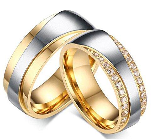 Daesar Männer Verlobungsringe Edelstahl Ring Für Paar Gold Ringe Zirkonia Mit Geschenk-Box 67 (21.3)