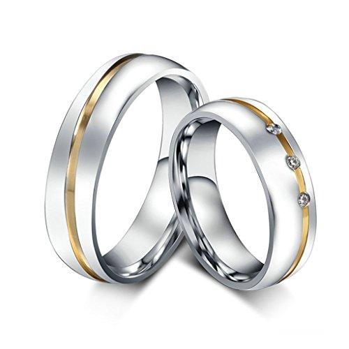 Daesar Männer Verlobungsringe Edelstahl Ring Silber Zirkonia Ring Für Paar Mit Geschenk-Box Größe 57 (18.1)