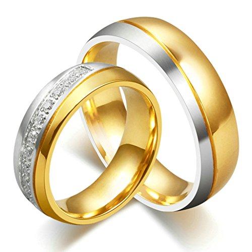 Daesar Männer Verlobungsringe Edelstahl Ringe Gold Zirkonia Ringe Mit Geschenk-Box 65 (20.7)