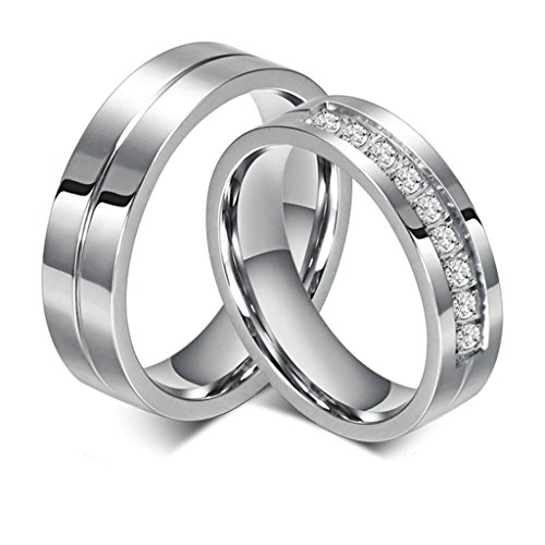 Daesar Männer Verlobungsringe Edelstahl Ringe Silber Glatt Zirkonia Ringe Mit Geschenk-Box 67 (21.3)