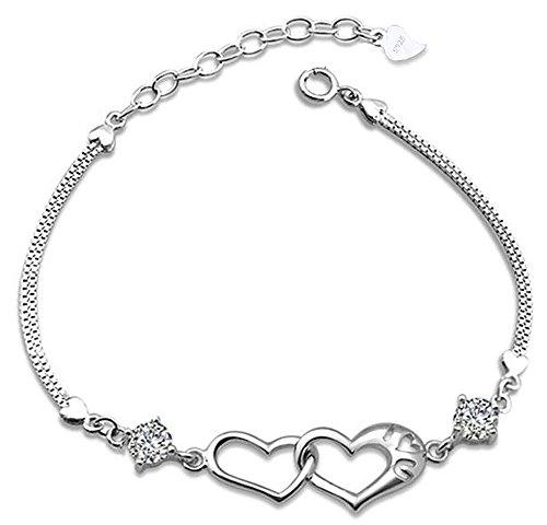 Damen 925 Sterling-Silber Doppel Herzen Armband/ Armkette / Armreif mit Zirkonia Kristall - ABD-S004-W