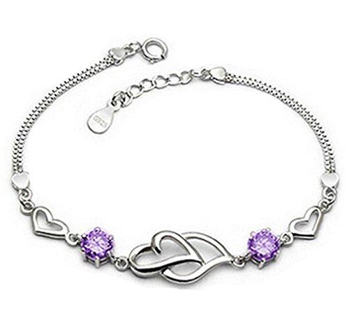Damen Armband 925 Sterling Silber Kristall 2 Herzen Armketten für Freundin Mädchen (Lila)