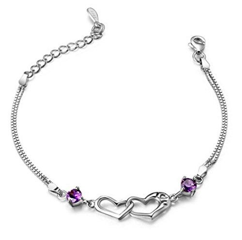 Damen Armband Armketten Modeschmuck Armketten aus 925 Sterling Silber (Lila)