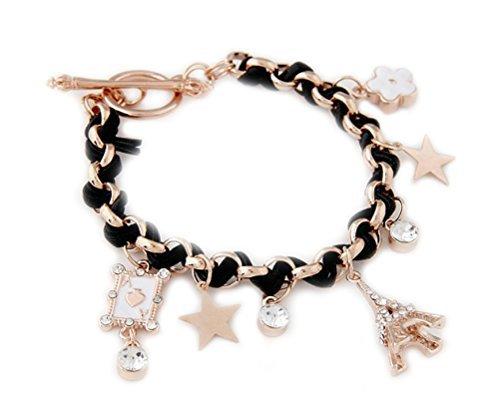 Damen-Armkette Armband Paris mit Eiffelturm Stern As Blume Strass Gold-Optik für Damen von DesiDo®