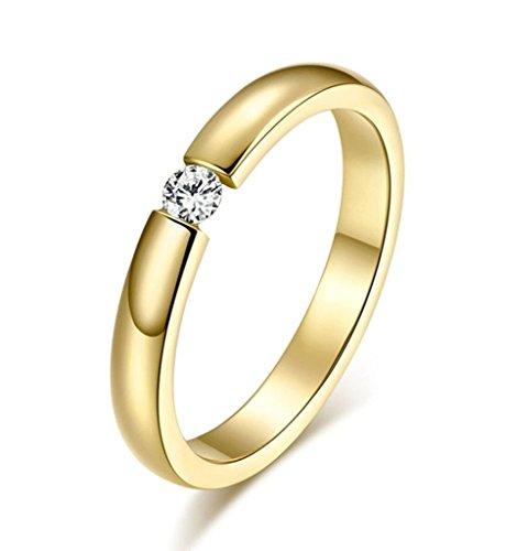 Damen Hochzeit Ringe Edelstahl Zirkonia 3 mm Gold Größe 52 (16.6) - Aienid Juwelier