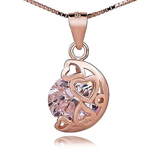 Damen swarovski Element Sterling Silber eingelegte Diamant Mond steht für My Heart Halskette .für Frauen Mädchen. (f1340) (Roségold vergoldet)