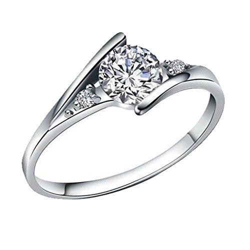 Dehang Damen-Ring klassic Solitär 925 Sterling Silber Zirkonia mit zufälligem Geschenk Etui-Gr.15.75/16.5/17.25