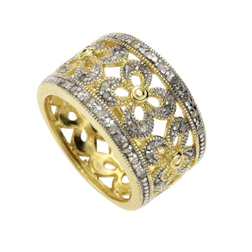 Diamonds by Ellen K. Damen-Ring 925 Sterlingsilber bicolor 40 Diamanten 0,216ct. Gr. 63 379270069-020