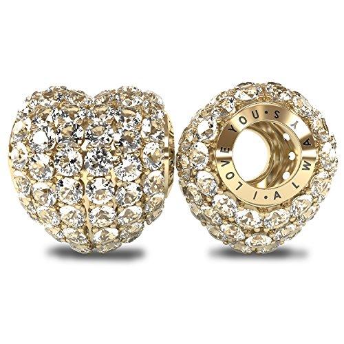 """Die Kollektion Royal-I Love You Always """", aus Sterling-Silber 925 18 Kt CZ-Kristalle, Pavé-Fassung, Charm Bead für Pandora und ähnliche 4 mm-Armbänder"""