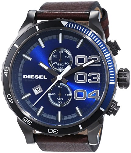 diesel herren armbanduhr xl chronograph quarz leder dz4312 ringe schmuck. Black Bedroom Furniture Sets. Home Design Ideas