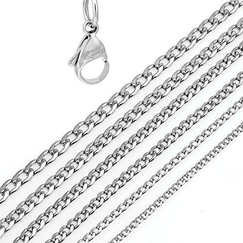 DonDon® Herren Halskette Panzerkette Edelstahl Länge 52 cm - Breite 0,4 cm