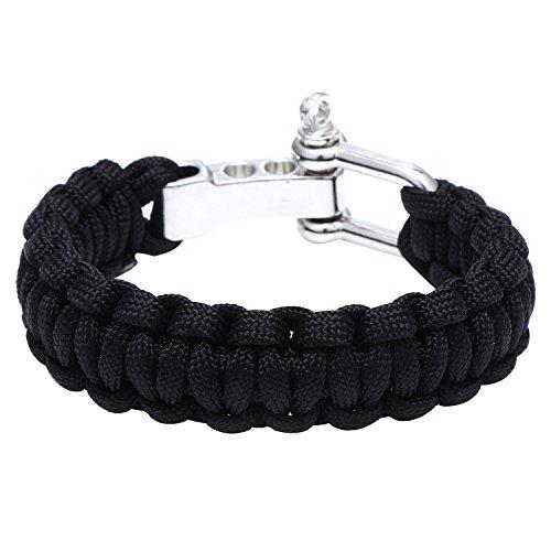 DonDon Herren Survival Outdoor Nylon Armband geflochten mit Schäkel Verschluss - schwarz