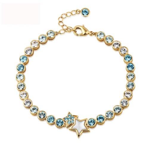 Dopobo 2016 Damen Crystal Armkette Charmsarmband Kristall Frau Armband Elegant (Gold und Blau)
