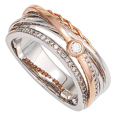 Dreambase Damen-Ring weiß rot kombiniert 14 Karat (585) Bicolor 48 Diamant 0.29 ct. 54 (17.2)