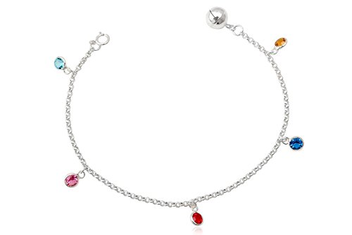 EYS Damen-Armband Zirkonia 925 Sterling Silber bunt mehrfarbig im Etui Armkette