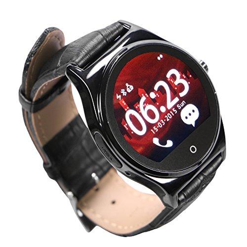 EasySMX Bluetooth SmartWatch Handy-Uhr für Samsung iphone Android iOS Phone mit lederig- Armband (Schwarz)