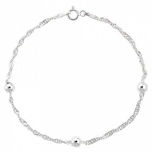 Edles Armband / Armkettchen mit Silberperlen aus Sterling Silber, 20cm Länge