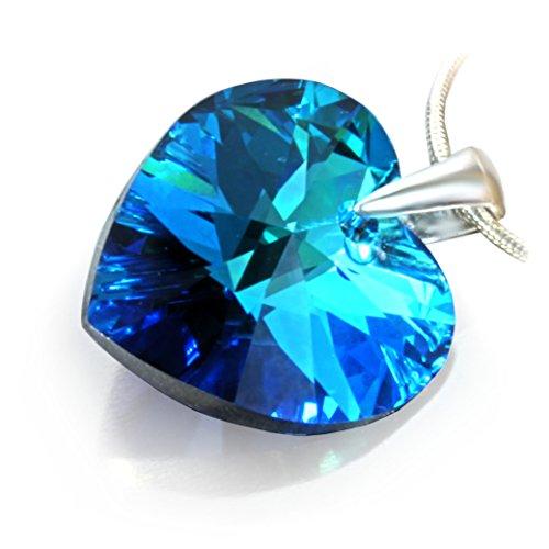 Eine Silberkette aus 925 Silber mit original Swarovski® Elements Herz Anhänger, dunkelblau, 18 mm, mit Schmucketui, ideal als Geschenk für Frau oder Freundin