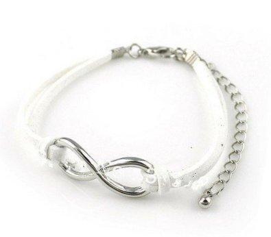 Einfaches Unendlichkeit Armband, Band in Hirschleder Silber Weiß / Infinity / besser Lederband / One Direction