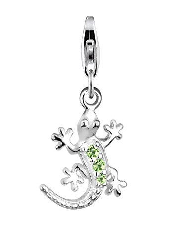 Elli Damen-Charm Tropisch Tier Gecko Anhänger 925 Sterling Silber mit Swarovski Kristallen hellgrün 0411440711