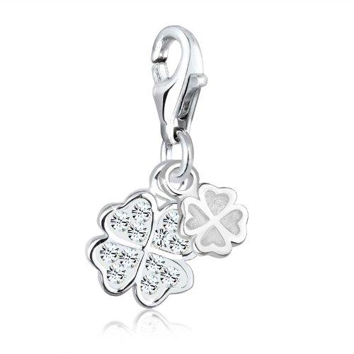 Elli Damen-Charm mit Anhänger Kleeblatt 925 Sterling Silber mit Swarovski Kristallen 0401753012