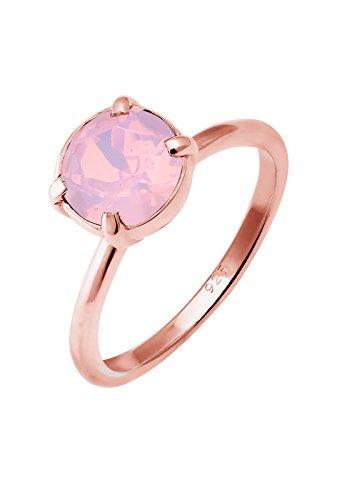 Elli Damen-Ring 925 Silber Swarovski Kristall rosa Brillantschliff Gr. 52 (16.6) - 0602261916_52