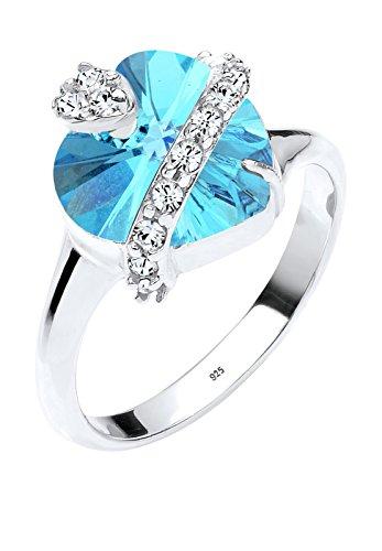 Elli Damen-Ring Herz mit Kristallen von Swarovski 925 Silber Herzschliff blau Gr. 52 (16.6) - 0602670315_52