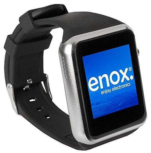 """Enox SWP22 SILBER Smartwatch Smartphone Handyuhr SIM Karten Einsatz 1,54"""" Farb-Display Fitness-Features Handy Bluetooth Uhr zum Verbinden mit Android und iOS Geräte"""