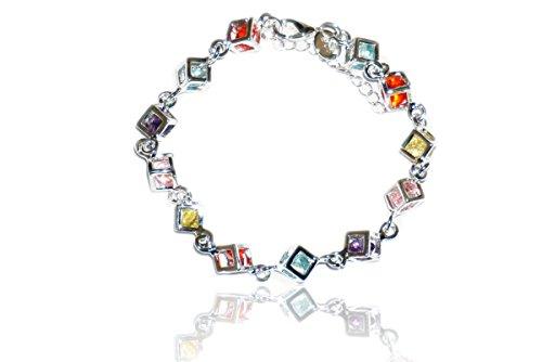 Erhard Damen Armband 925er Silber mit bunten Steinen 78304