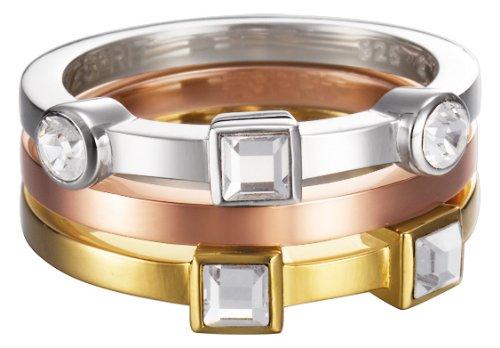 Esprit Damen-Ring Edelstahl rhodiniert Kristall Zirkonia Conjunction bicolor weiß Gr.59 (18.8) ESZZ10717A190