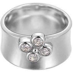 Esprit Damen-Ring shiny blossom 925 Sterlingsilber 4 Zirkonia farblos Gr. 18 ESRG91725A180