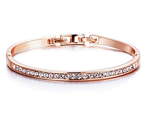FANCYDELI® Muttertag Geschenke Rosegold Damen Armband Armreif mit österreichen Kristall Geschenk für Frauen Freundin Mutter