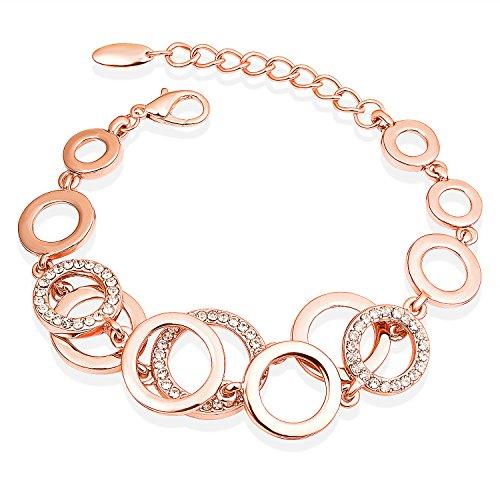 FANCYDELI® Muttertag Geschenke Rosegold Damen Armband mit österreichischen Kristall Schmuck Geschenk für Freundin Frauen Mama Mutter