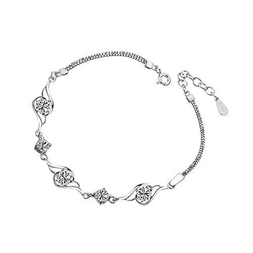 Fairy Season 925 Sterling Silber überzogene Kristall Angel Feather Feder Flügel Kristall Armband Armkette für Partei Hochzeit