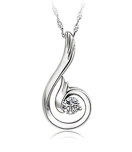 Fashion Wang S925 Sterling Silber Einfach Design Flügel Form Anhänger Halskette für Damen