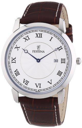 Festina Herren-Armbanduhr XL Klassik Analog Quarz Leder F6813/5