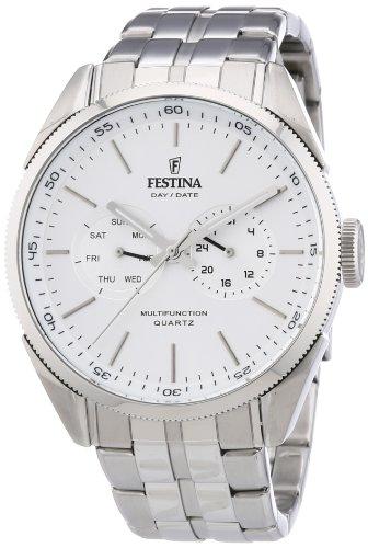 Festina Herren-Armbanduhr XL Klassik Multifunktion Analog Quarz Edelstahl F16630/1
