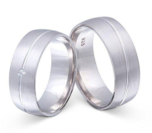 Flame Partner-Ringe 2 Partnerringe Eheringe massiv 925er Sterling Silber 1 Zirkonia weiss -gratis Gravur S-AO-HD