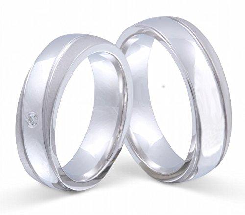 Flame Partner-Ringe 2 Partnerringe massiv 925er Sterling Silber 1 Zirkonia weiss -gratis Gravur S-AH-HD