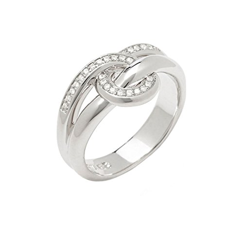 Fossil Damen-Ring 925 Sterling Silber Zirkonia weiß Gr.50 (15.9) JFS00106040-5.5