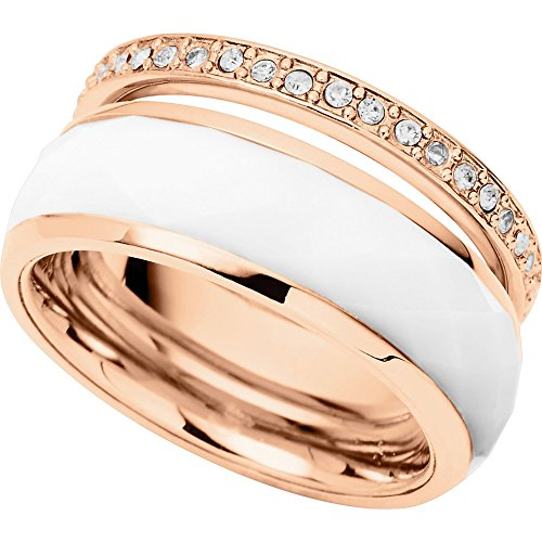 Fossil Damen-Ring Edelstahl Acryl Zirkonia weiß Gr.50 (15.9) JF01123791-5.5