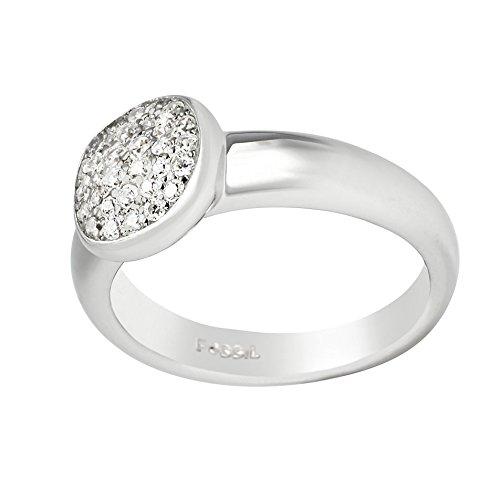 Fossil Damen-Ring Edelstahl Zirkonia weiß Gr. 56 (17.8) - JFS00258040-8