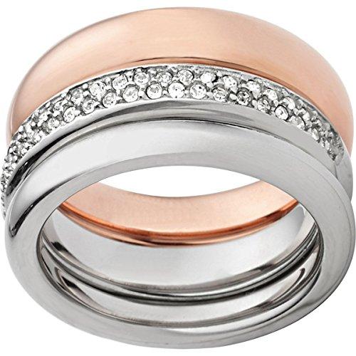 Fossil Damen-Ring Edelstahl teilvergoldet Glas weiß Gr. 50 (15.9) - JF01378998-5.5