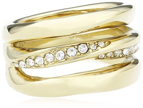 Fossil Damen-Ring Edelstahl teilvergoldet Zirkonia weiß Gr. 53 (16.9) - JF01615710-6.5
