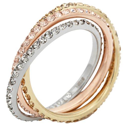 Fossil Damen-Ring Glaskristall Edelstahl mehrfarbig Gr.56 (17.8) JF00852998-8