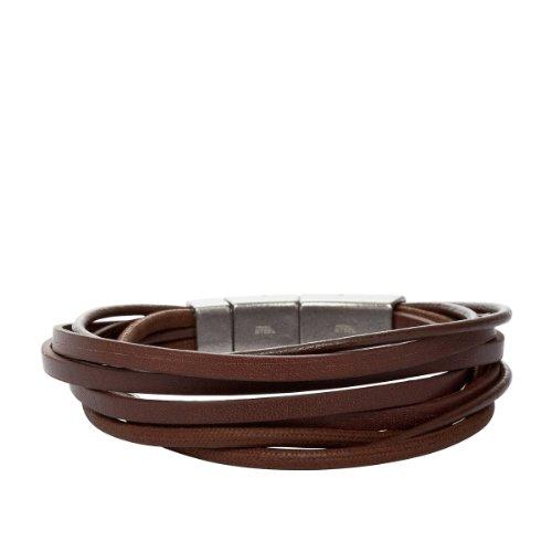 Fossil Herren-Armband Leder Edelstahl Braun 21-22,5 Cm JF86202040