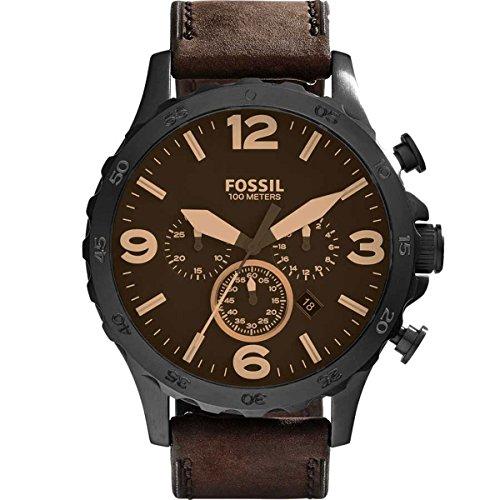 Fossil Herren-Armbanduhr Chronograph Quarz Leder JR1487