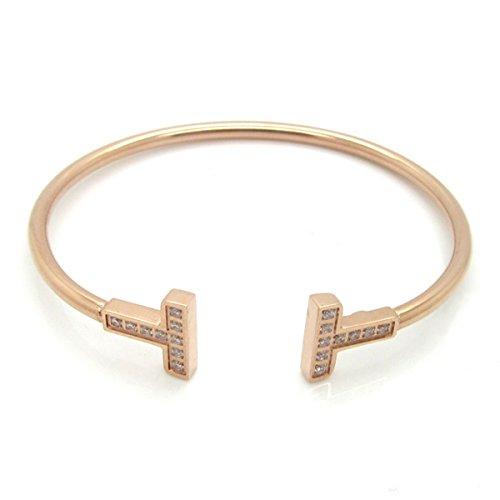 Foxnovo Frauen Girls Crystal Diamante verstellbare Armband Armreif (Rotgold)