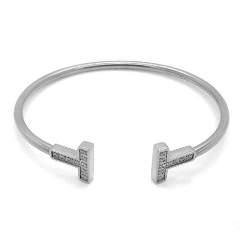 Foxnovo Frauen Girls Crystal Diamante verstellbare Armband Armreif (Silber)