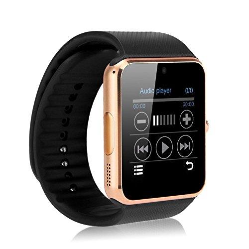 Gearmax® Bluetooth Smart Watch Armbanduhr Handy-Uhr Smartwatch mit Kamera SIM Karte GSM GPRS für Samsung HTC Android-Telefon (Gold)